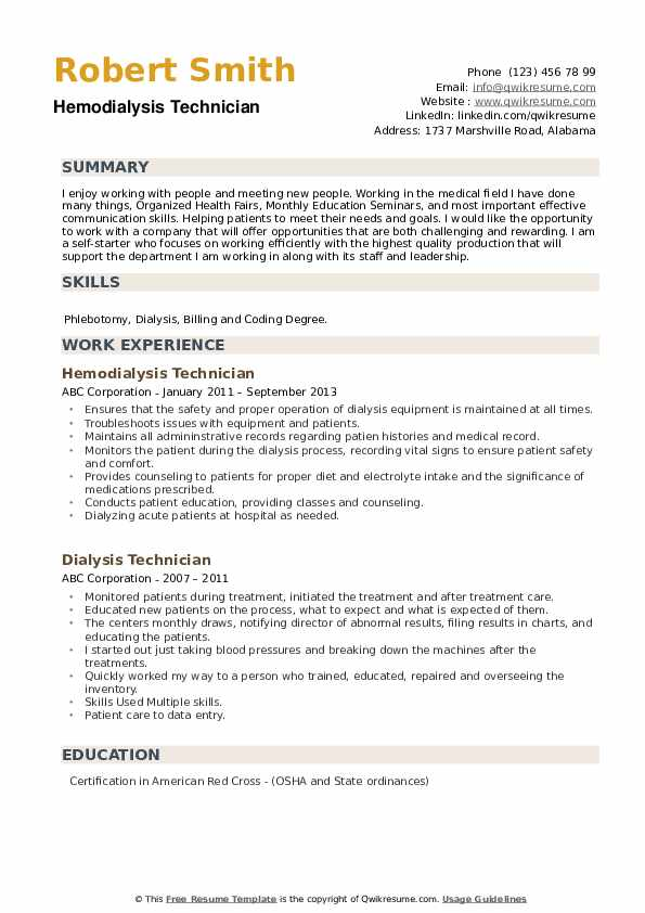dialysis technician resume samples