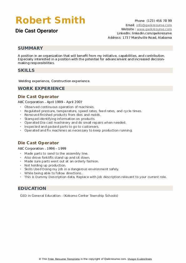 Die Cast Operator Resume example