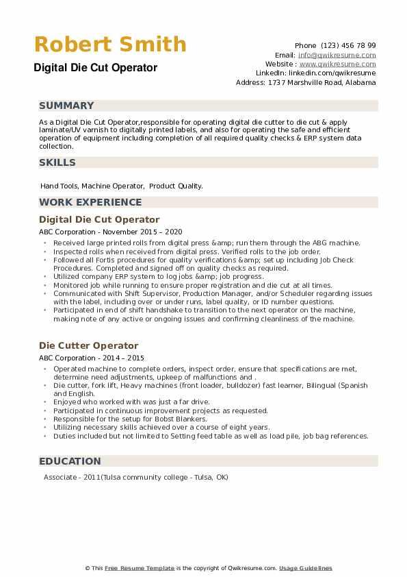 Die Cutter Operator Resume example