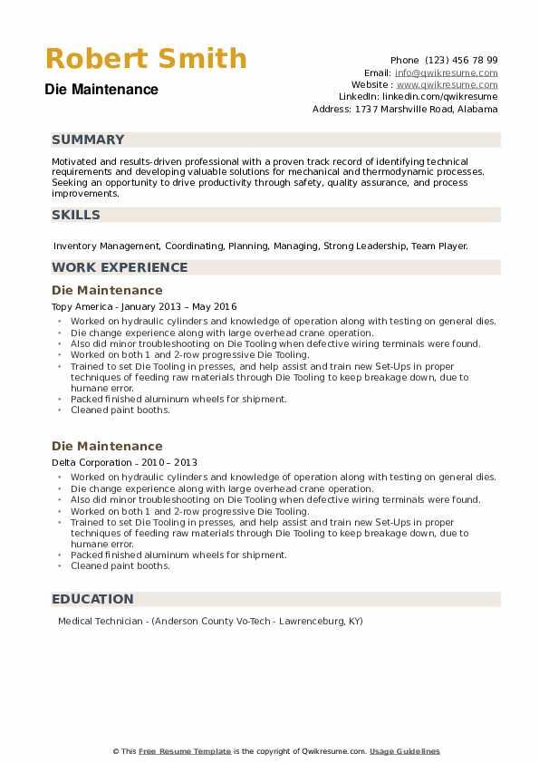 Die Maintenance Resume example