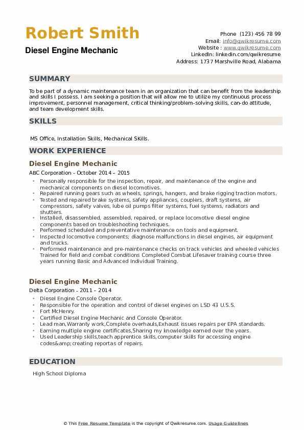 Diesel Engine Mechanic Resume example