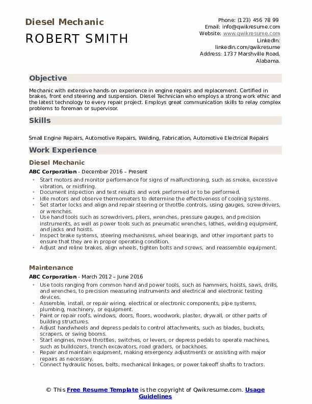 Diesel Mechanic Resume Format