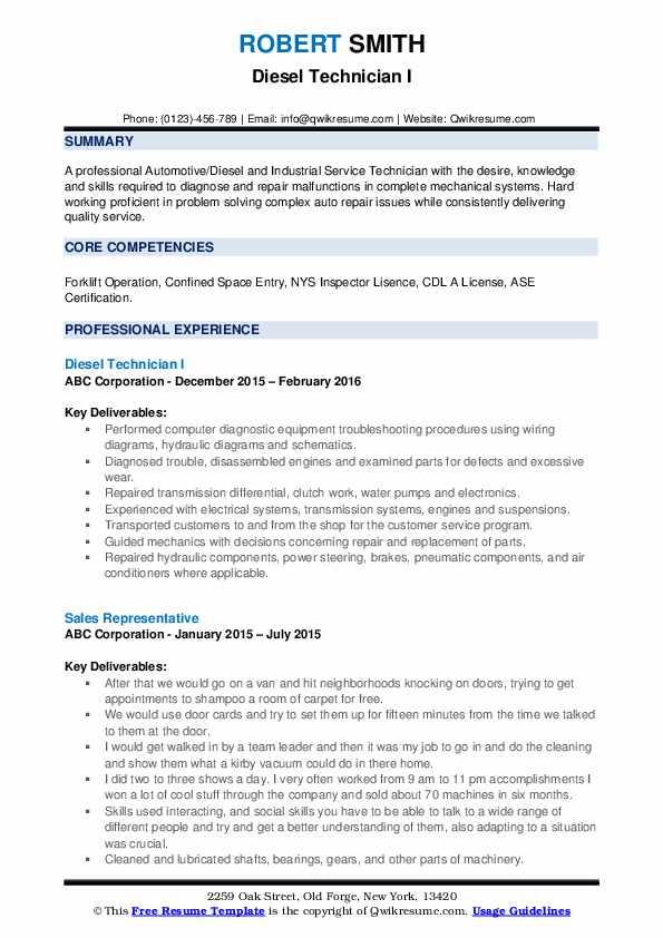 diesel mechanic resume samples