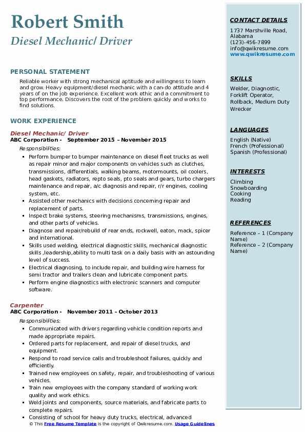 Diesel Mechanic/ Driver Resume Example