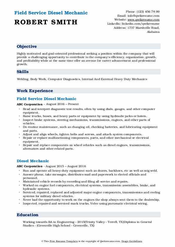 Field Service Diesel Mechanic Resume Template