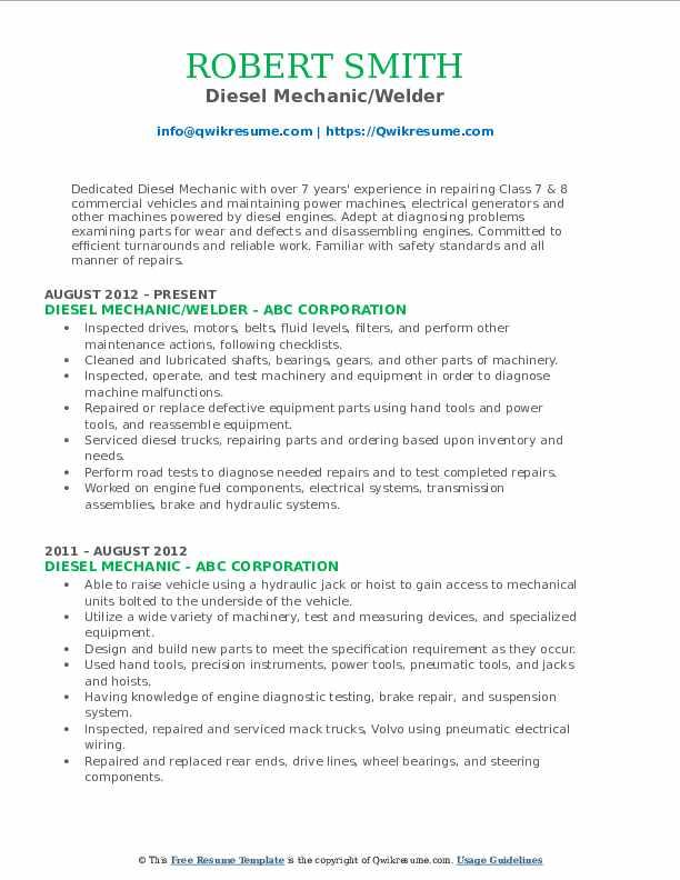 Diesel Mechanic/Welder Resume Template