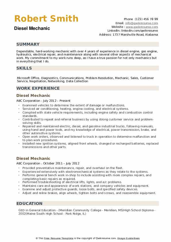 diesel mechanic resume samples