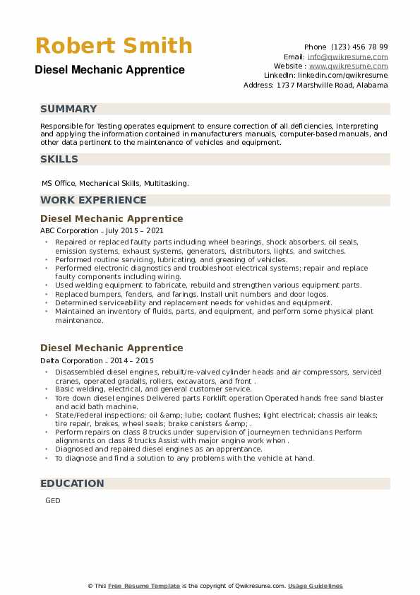 Diesel Mechanic Apprentice Resume example