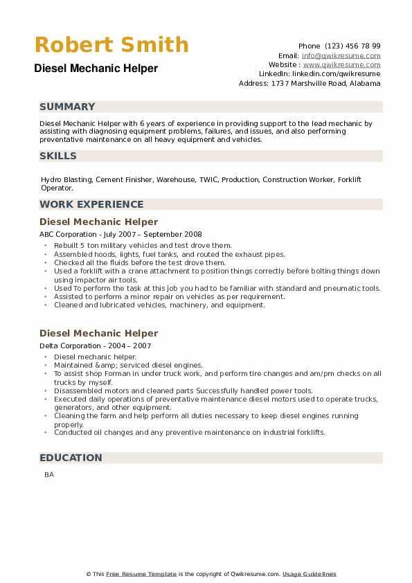 Diesel Mechanic Helper Resume example
