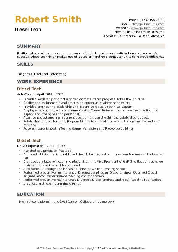Diesel Tech Resume example