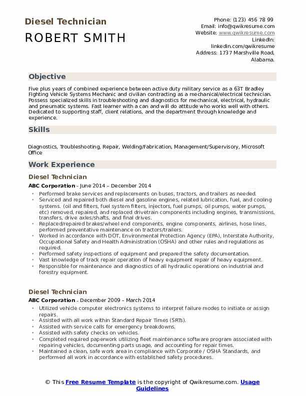 Diesel Technician Resume Model