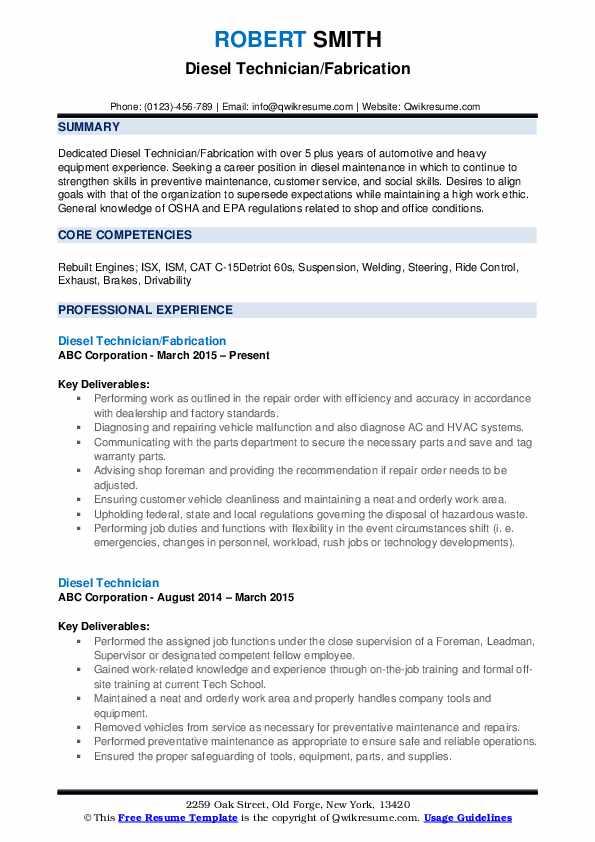 Diesel Technician/Fabrication Resume Sample