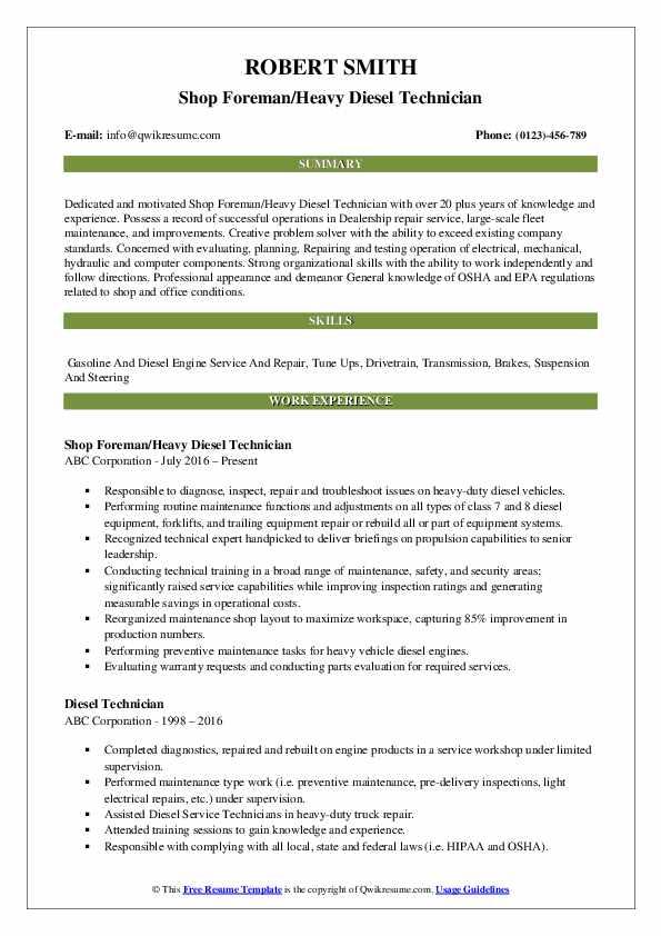 Diesel Technician Resume Samples   QwikResume