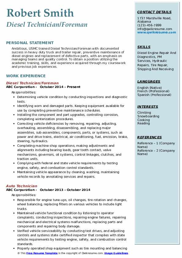 Diesel Technician/Foreman Resume Sample