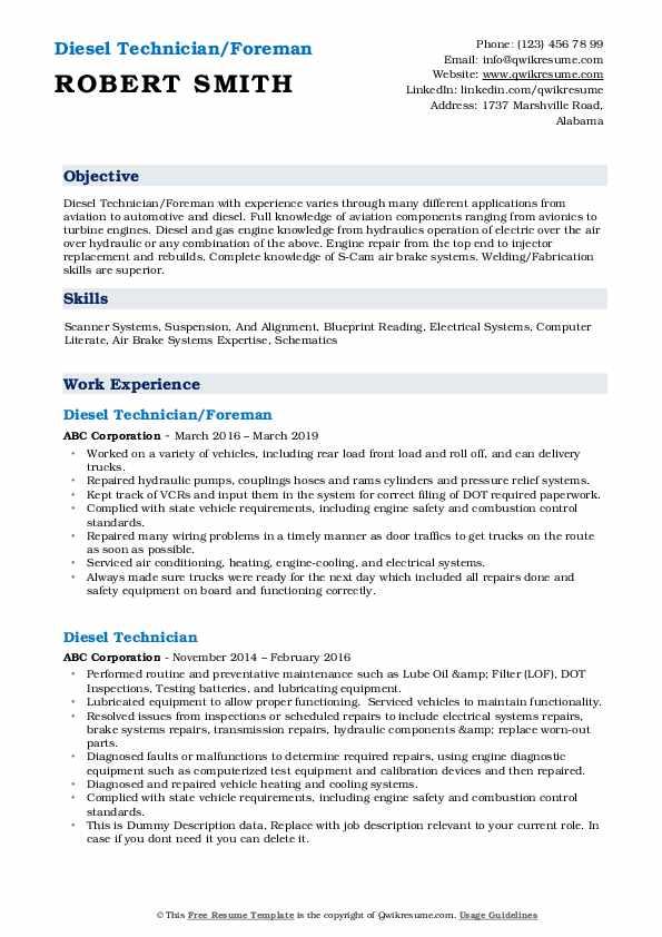 Diesel Technician/Foreman Resume Example