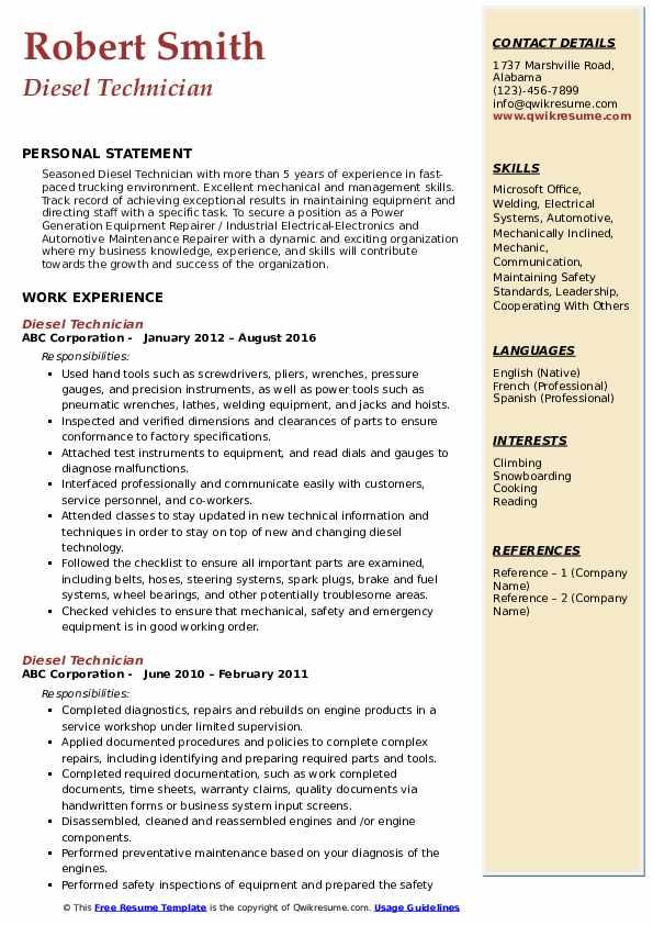 Diesel Technician Resume Format