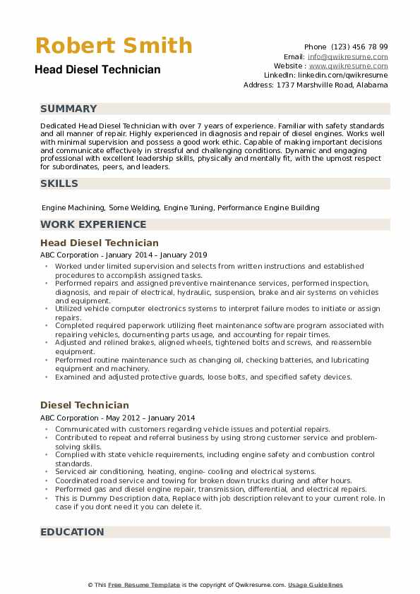 diesel technician resume samples