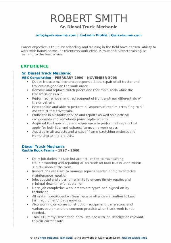 diesel truck mechanic resume samples  qwikresume