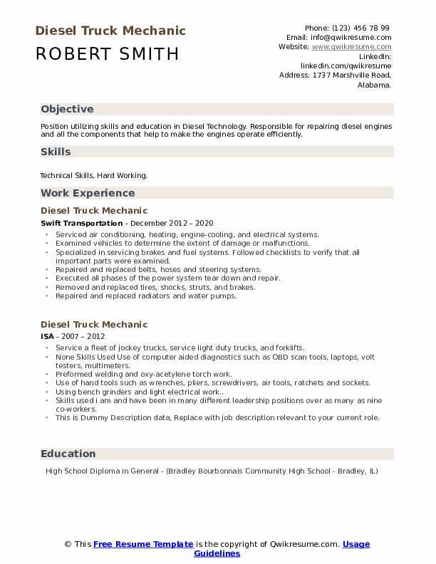 Diesel Truck Mechanic Resume example