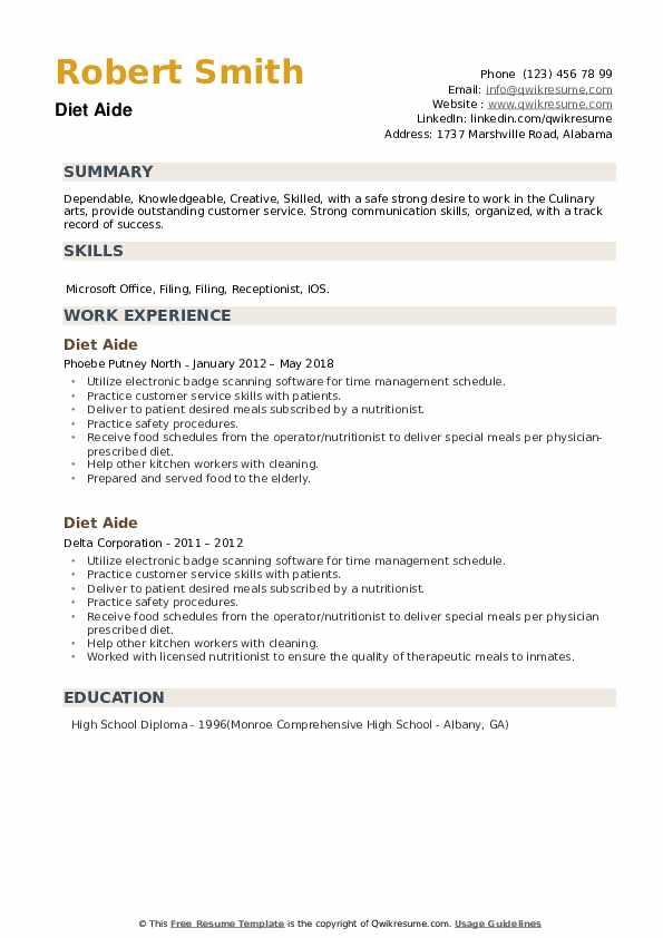Diet Aide Resume example