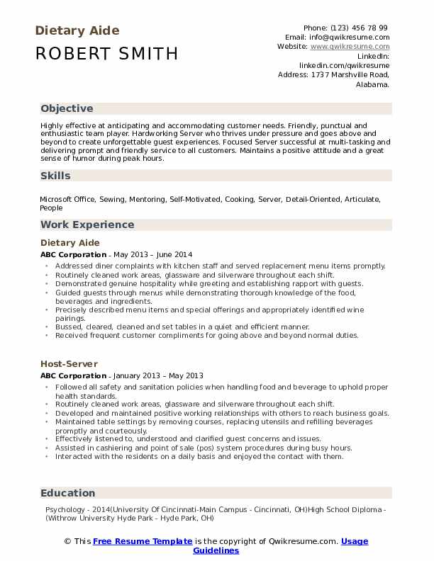 Dietary Aide Resume Template