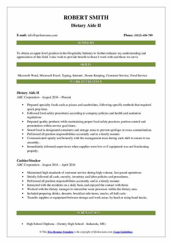 Dietary Aide II Resume Model