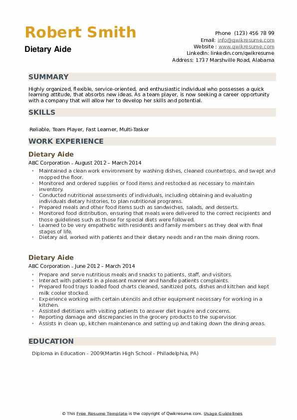 Dietary Aide Resume Example