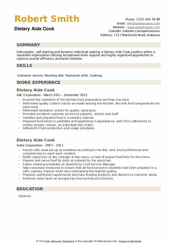 Dietary Aide Cook Resume example