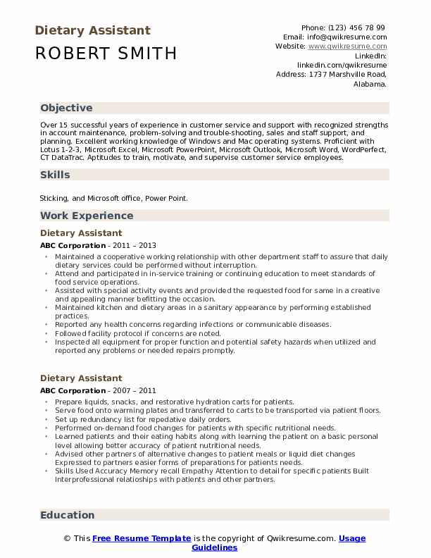 Dietary Assistant Resume Example