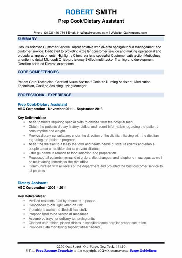 Prep Cook/Dietary Assistant Resume Format