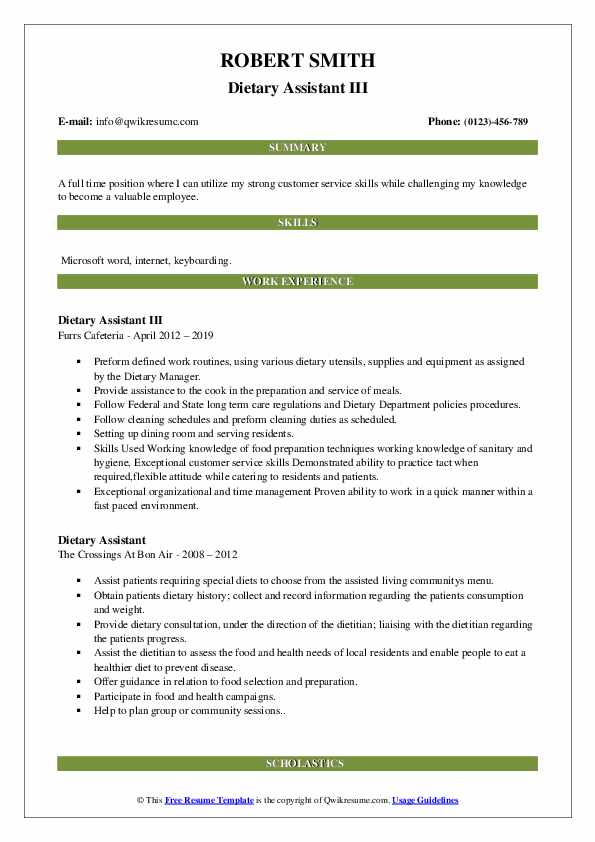 Dietary Assistant III Resume Template