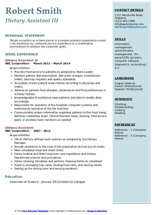 Dietary Assistant III Resume Model