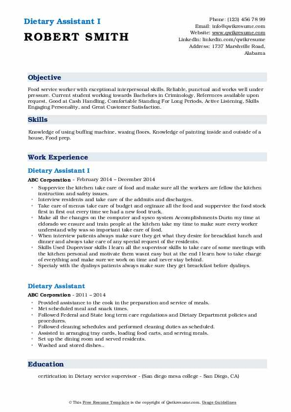 Dietary Assistant I Resume Sample