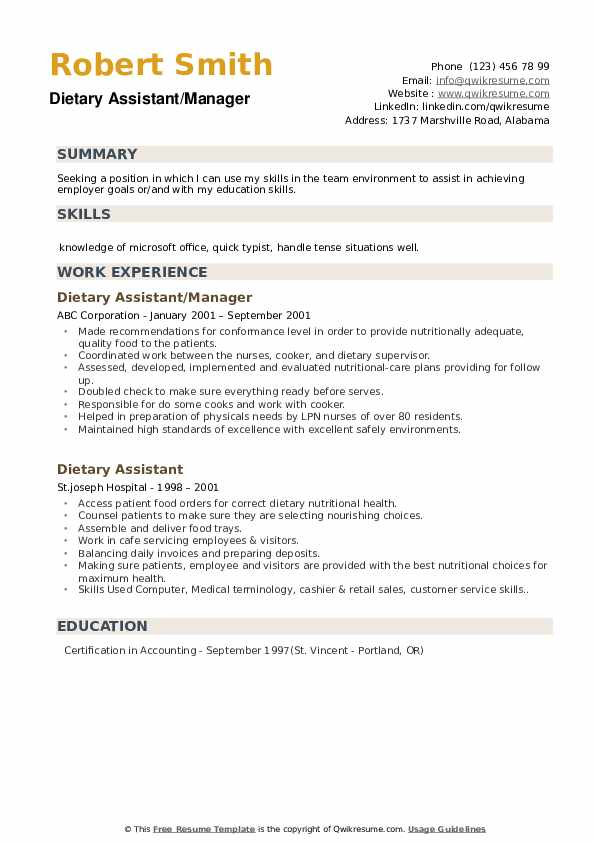 Dietary Assistant/Manager Resume Sample