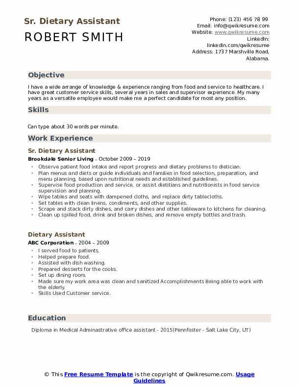 Sr. Dietary Assistant Resume Model
