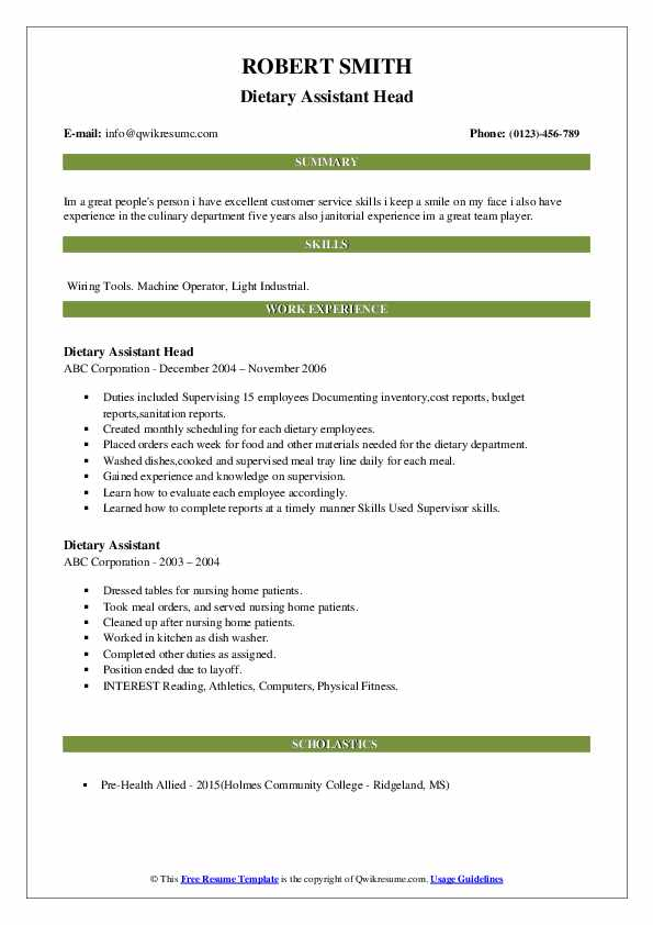 Dietary Assistant Head Resume Sample