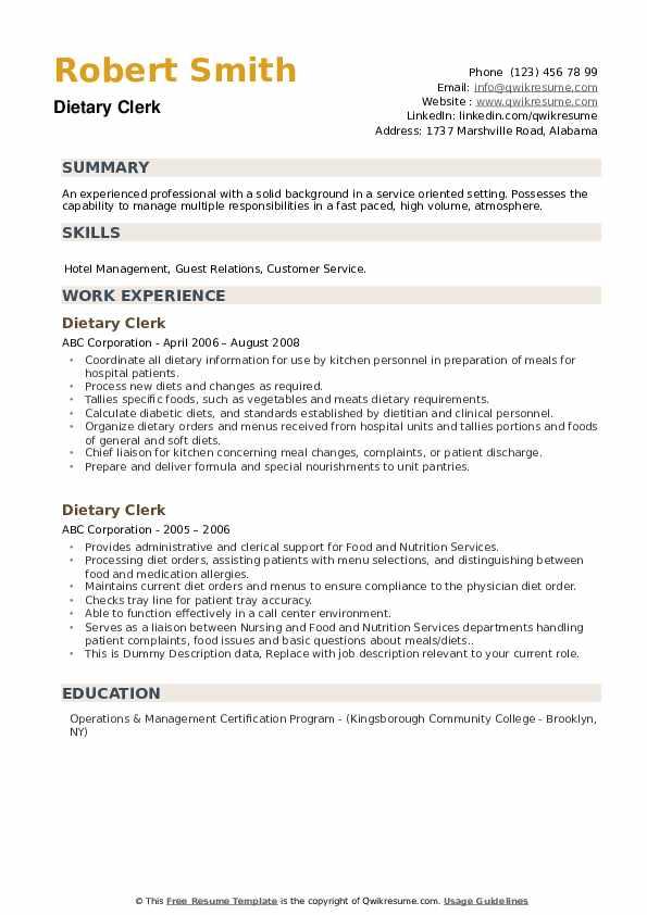 Dietary Clerk Resume example
