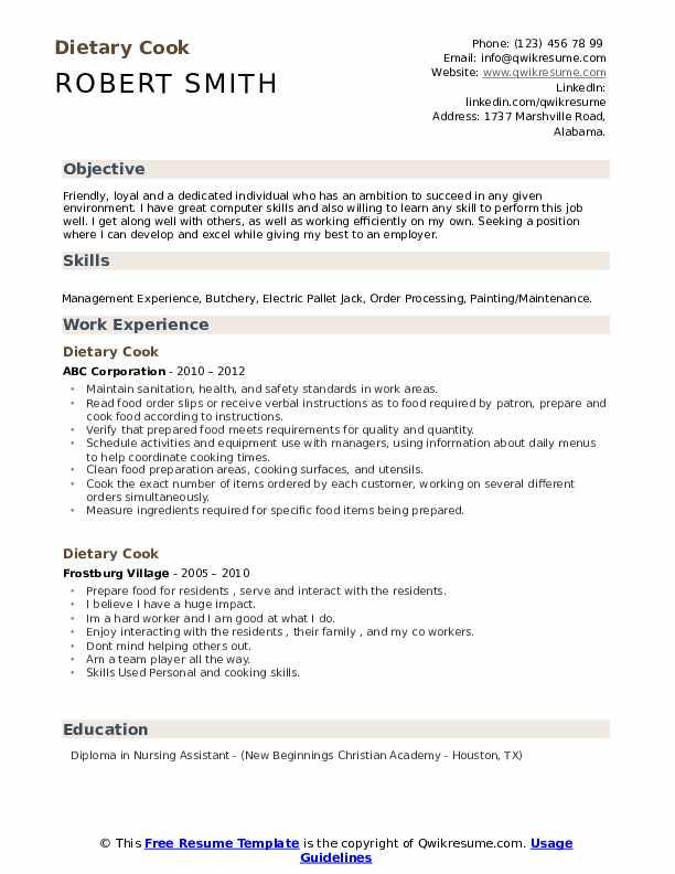 dietary cook resume sample