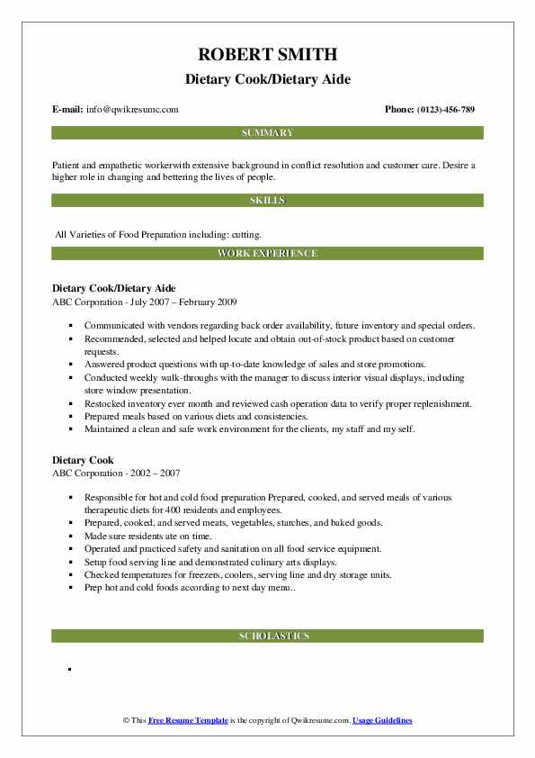 Dietary Cook/Dietary Aide Resume Example
