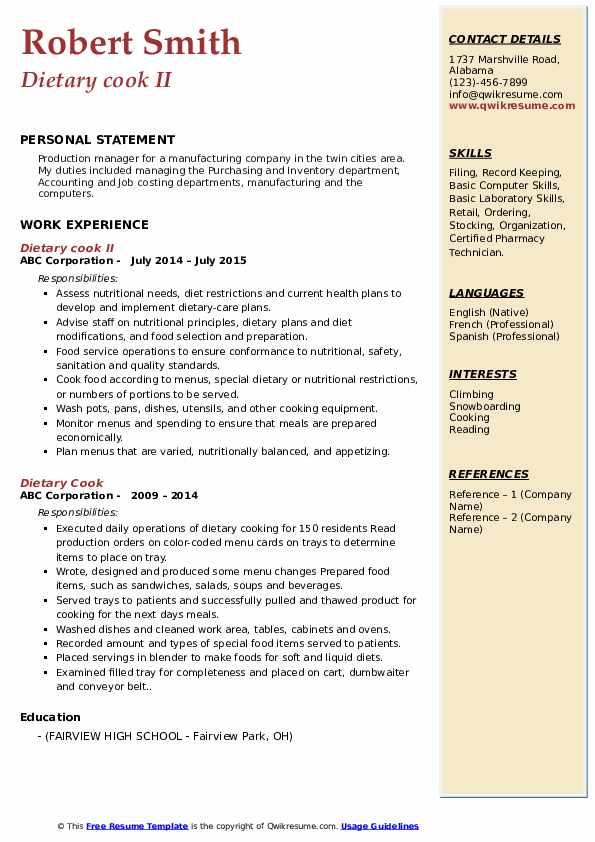 Dietary cook II Resume Model