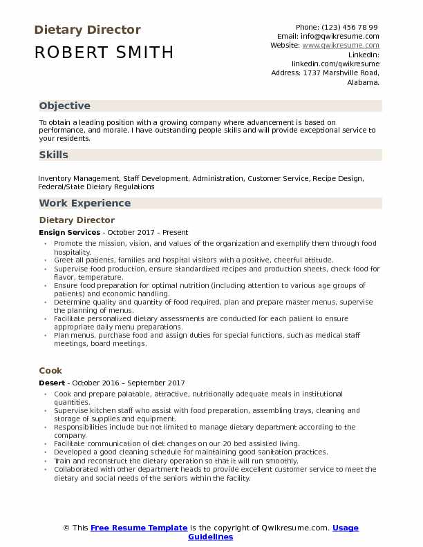 Dietary Director Resume Template