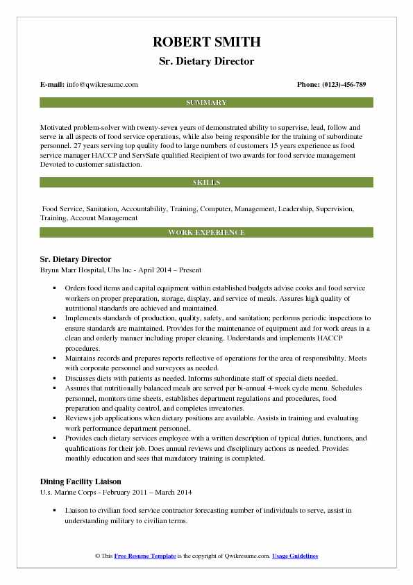 Sr. Dietary Director Resume Sample