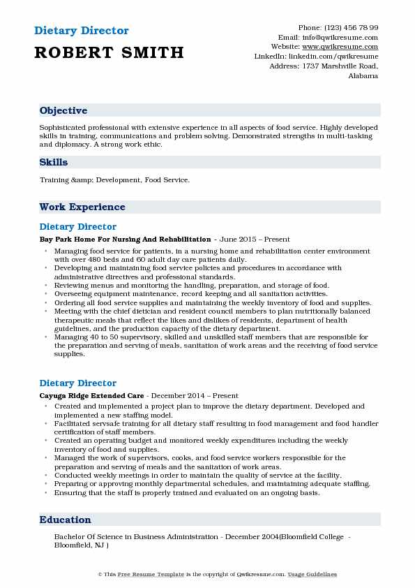 Dietary Director Resume Sample