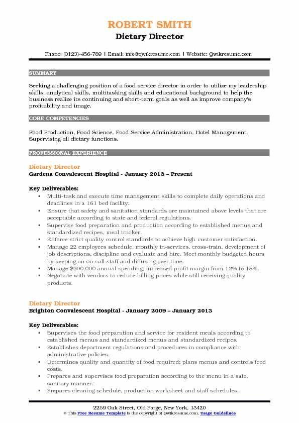 Dietary Director Resume Format