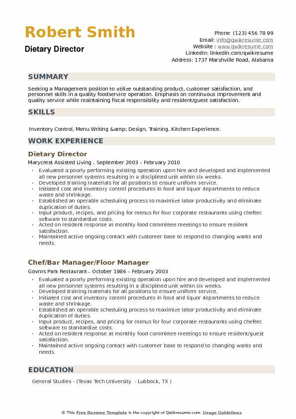 Dietary Director Resume Samples | QwikResume