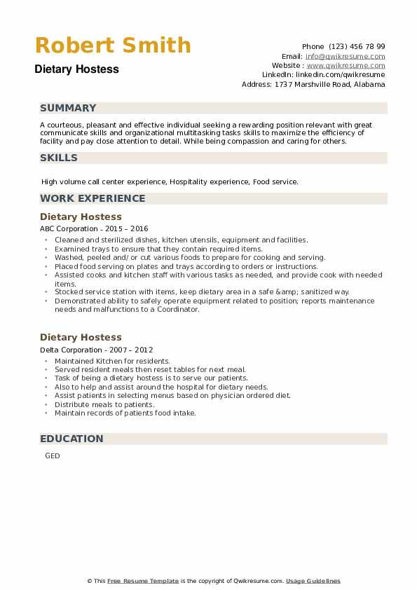Dietary Hostess Resume example