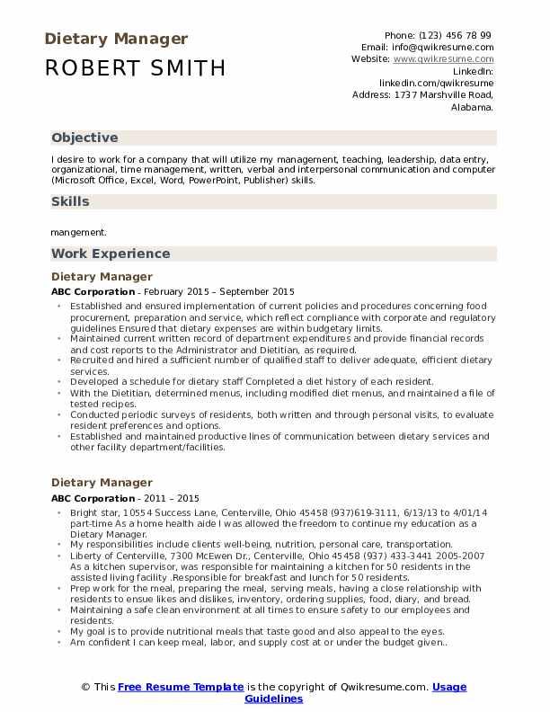 Dietary Manager Resume Model