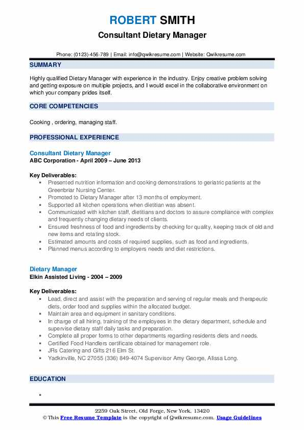 Consultant Dietary Manager Resume Model