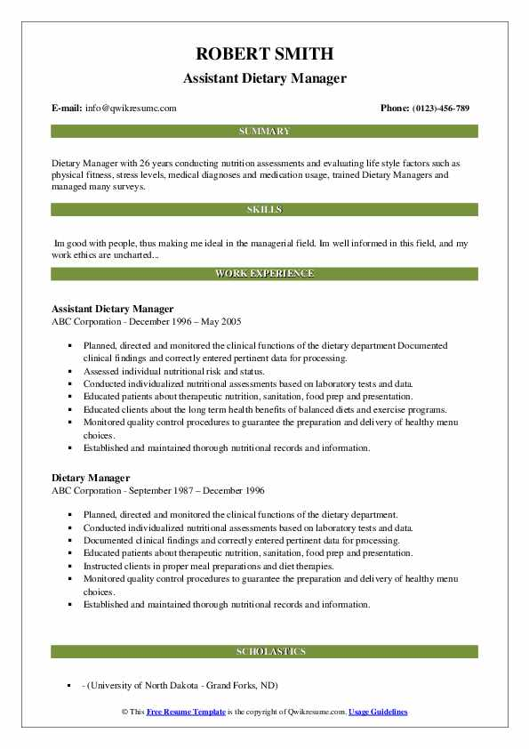 Assistant Dietary Manager Resume Sample