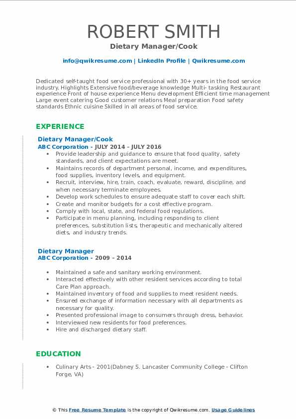 Dietary Manager/Cook Resume Template